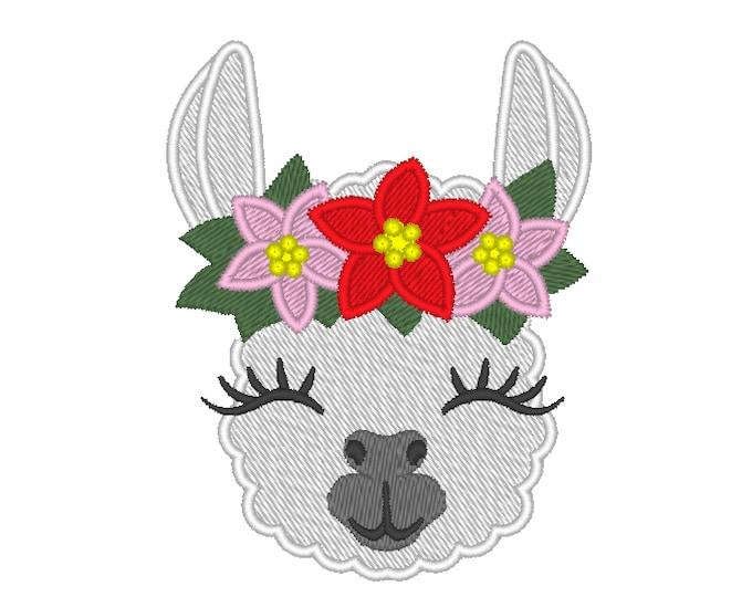 MINI Christmas Pretty eyes llama alpaca head with shabby chick Christmas Poinsettia crown fill stitch machine embroidery designs llama face