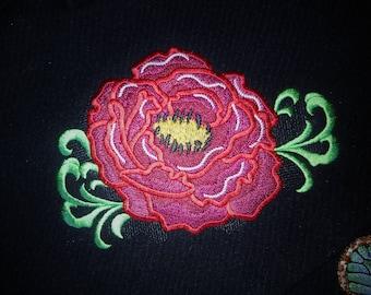 Big flower machine embroidery design fill stitch, in sizes 4x4, 5x7 peony, rose, eglantine, poppy, brier, sweetbrier INSTANT DOWNLOAD