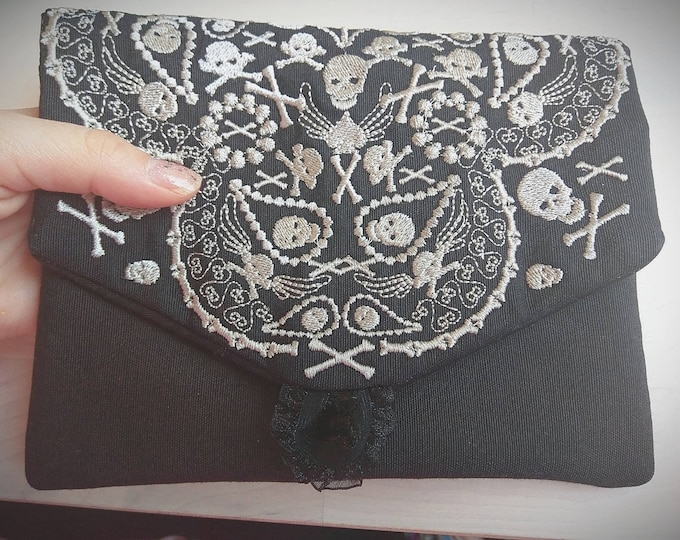 Skulls Envelope, Bag, Purse, Pouch, Envelope ITH, Pocket, ITH In The Hoop Machine Embroidery designs In-The-Hoop 6x10 8x12
