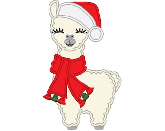 Santa hat winter llama applique embroidery Llama or alpaca with Santa Christmas hat machine embroidery designs face drama llama design