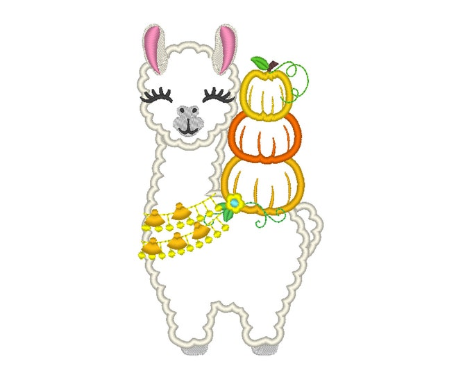Floral Pumpkin autumn thanksgiving Tassels Llama, Fringed tassel necklace and stack of pumpkins Lama machine embroidery applique design