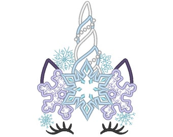 Frozen Unicorn Horn Snowflake Motif snowflake crown applique machine embroidery designs applique Rainbow unicorn embroidery unicorn face
