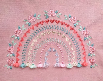 Boho floral rose and heart Rainbow fringed tassels machine embroidery design in assorted sizes, girly pretty rainbow heart flower tassels