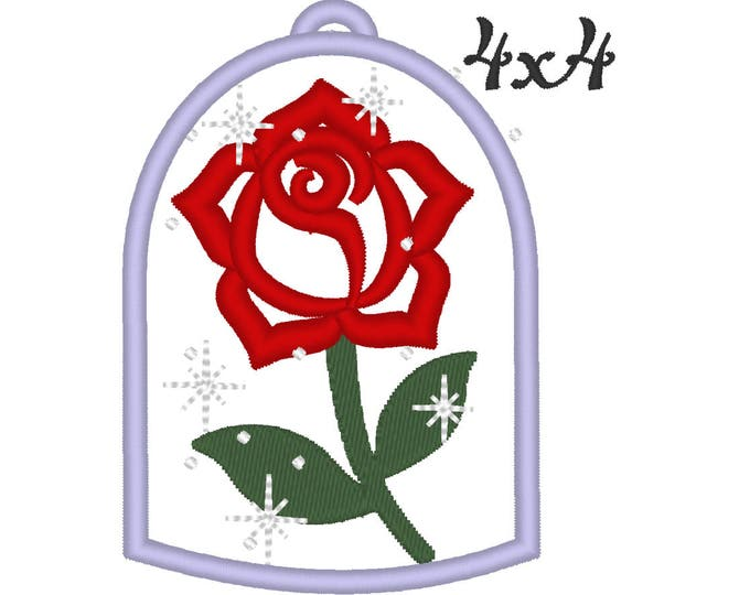 Rose sparkling Belle rose Tale as old as time beautiful rose applique embroidery design assorted sizes 4x4, 5x7 and 6x10