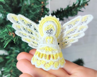 Precious Christmas Angel Easy 3D three-dimensional FSL free standing lace machine embroidery design in the hoop ITH embroidery hoop 4x4, 5x7