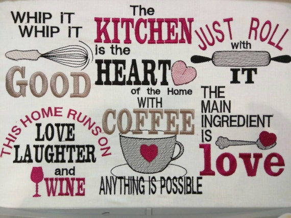 Kitchen Cute Quotes Machine Embroidery Designs 4x4 5x7 Etsy