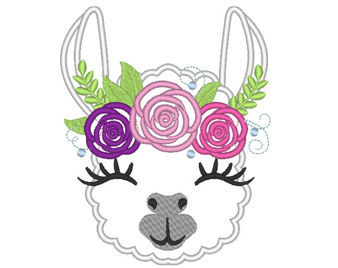 Pretty eyes llama or alpaca head with shabby chick roses crown applique machine embroidery designs applique embroidery lama face portrait