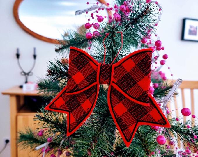 Plaid gingham Checked Christmas bow machine embroidery felt feltie design assorted sizes Christmas decoration - Feltie Designs 4x4 5x7 6x10