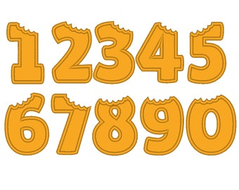 Bitten numbers, wide satin stitch birthday numbers, machine embroidery applique designs - 2.5, 3.5, 4.5 inches