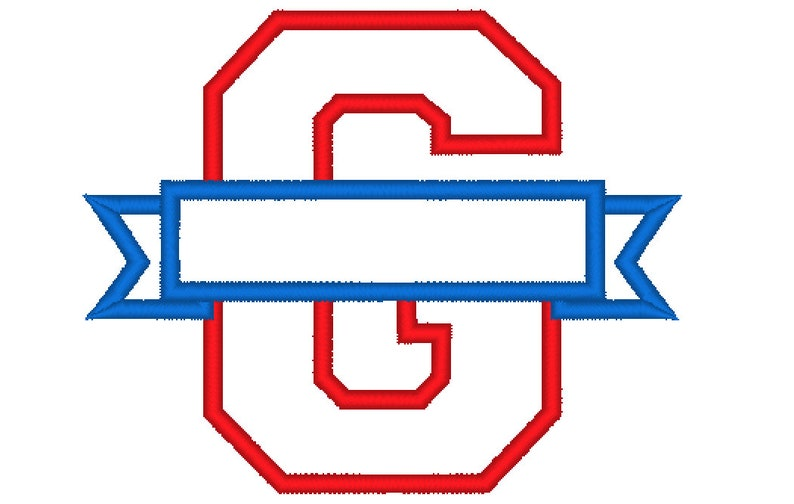 One letter G Collegiate Varsity Split block Letter with banner machine  embroidery applique design and mini font- 3, 4, 5 inches