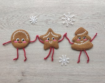 Ginger man, Ginger-breads, Christmas Gingerbread in-the-hoop project felties - machine embroider designs - ITH (in the hoop)