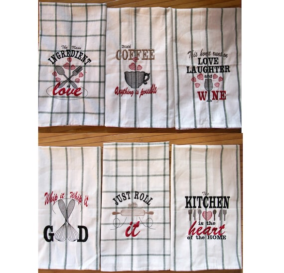 Discount 40 Kitchen Quotes Pack Price 6 Towel Embroidery Etsy