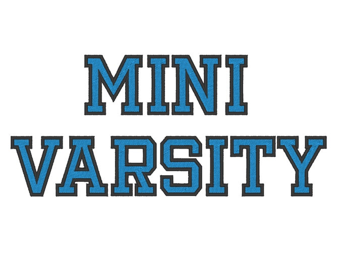 Mini Varsity Collegiate, Collegiate type Font machine embroidery designs - capital letters and numbers, 2 colors, outline, fill stitch BX