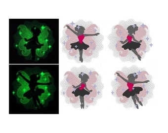 Set of fairies / Glow in the dark special designed machine embroidery / sizes 4x4 and 5x7 /  INSTANT DOWNLOAD