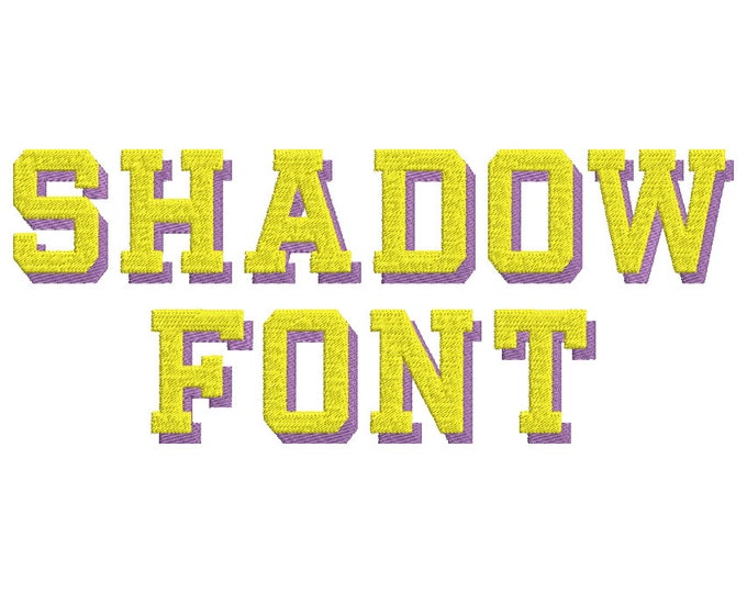 Block type Shadow Font fill stitch machine embroidery designs assorted sizes, sport letters numbers punctuation marks with shadow, BX font
