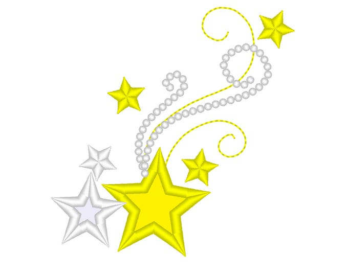 Shooting swirly classy stars - assorted variations and sizes  - embroidery machine designs, add-ons, many sizes INSTANT DOWNLOAD