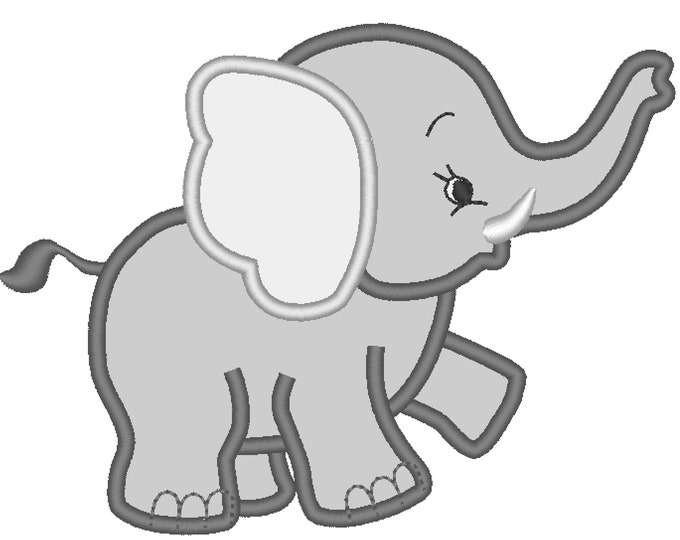 Little Elephant machine embroidery applique designs assorted sizes INSTANT DOWNLOAD  Machine Embroidery Designs for hoop 4x4, 5x7