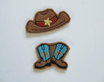 Kicking boots and cowboy hat key fob, feltie, keyfob machine embroidery design, felt outline keyfob keychain embroidery project for boys
