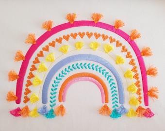 Boho rainbow with fringed tassels machine embroidery design assorted sizes heart leaf tassel fringe funny girly rainbow satin stitch design