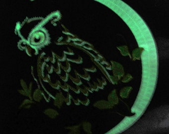 Night owl on the moon Glow in the dark special machine embroidery design Magic bird kids children embroidery assorted sizes glowing pattern