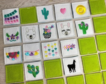 """Memory game """"Llamas"""" machine embroidery design in the hoop kids match game embroidery ITH project for hoop 4x4, 5x7, 6x10 llama alpaca lama"""