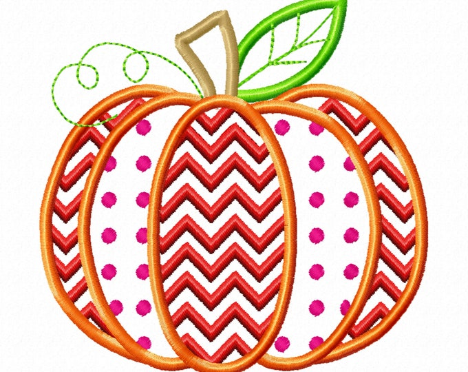 Pumpkin Patch Applique Design with polka dot and ric-rac as part of embroidery Fall Pumpkin machine embroidery applique design Thanksgiving