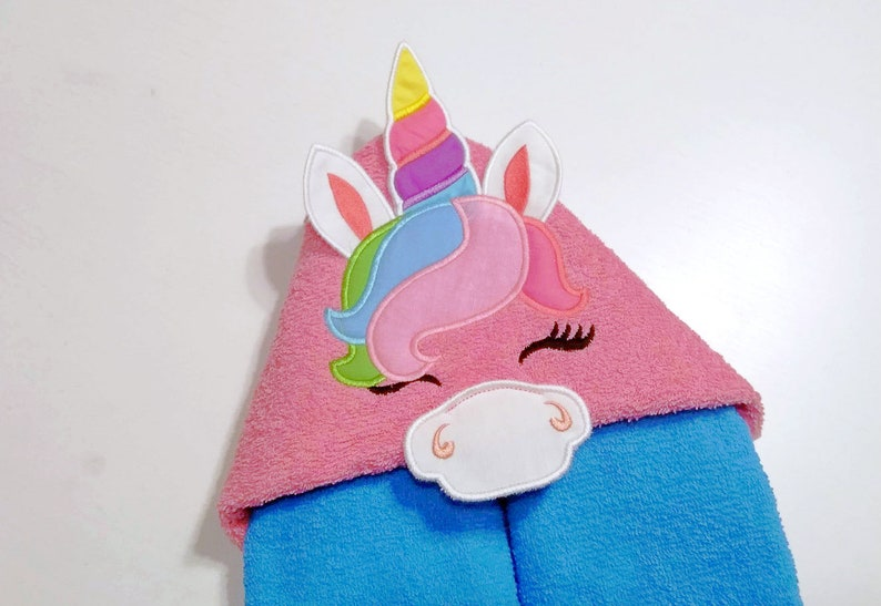 Hooded Towels Unicorn Hooded Towel Topper Embroidery Design Etsy