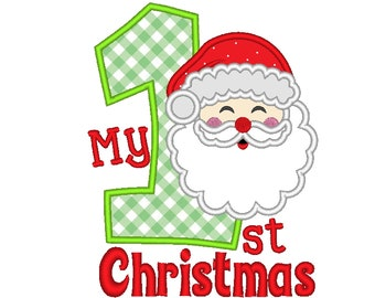 My 1st Christmas Santa Claus, Christmas applique machine embroidery design for hoops 4x4, 5x7 My First Christmas for baby kids