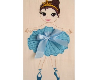 Ballerina INSTANT DOWNLOAD machine embroidery design outline raggedy edge and applique for hoops 4x4, 5x7 little dancer princess girl crown