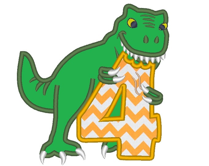 T-rex dinosaur Birthday number four 4 machine embroidery Birtday outfit designs - assorted sizes, for hoops 4x4, 5x7, 6x10  INSTANT DOWNLOAD