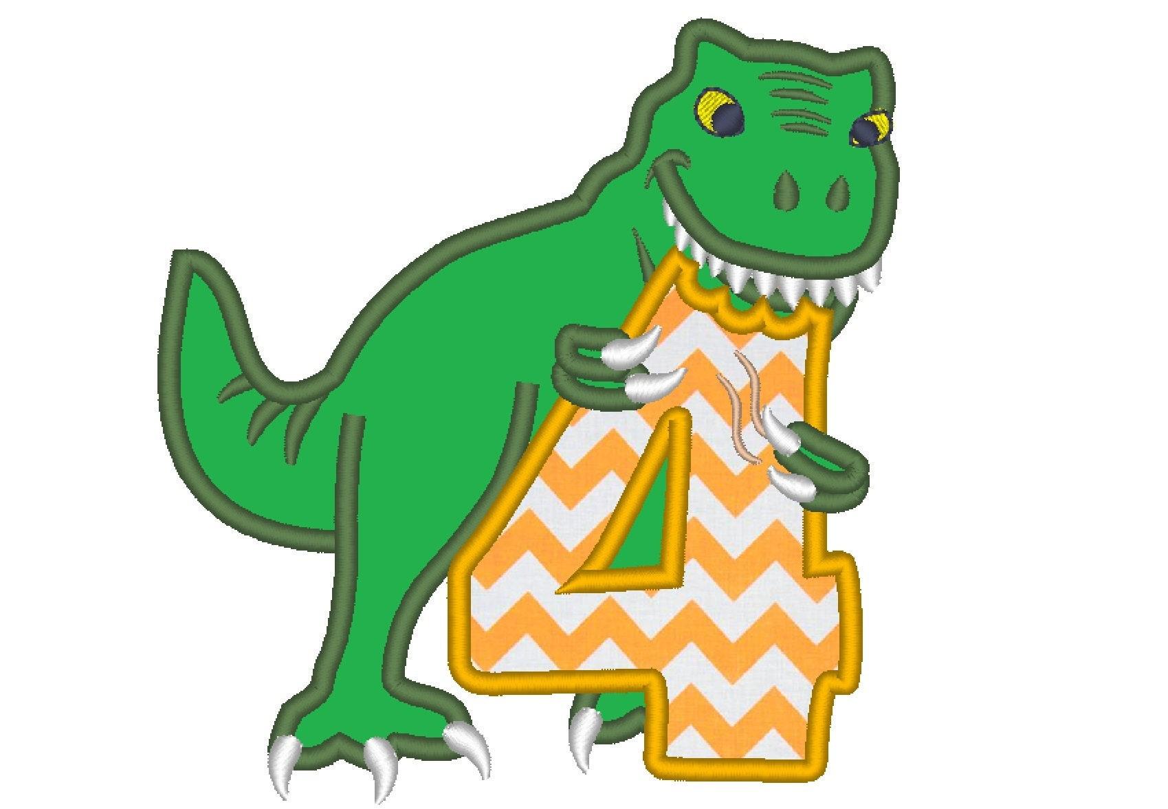 T-rex dinosaur Birthday number four 4 machine embroidery ...