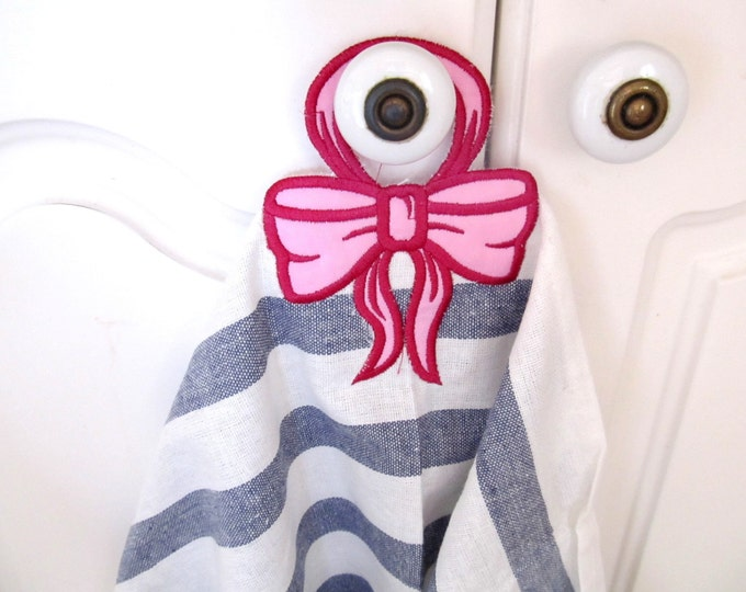 """Bow 2 - towel hanging hole - """"In The Hoop"""" machine embroidery design, ITH project, for hoops 4x4 and 5x7"""