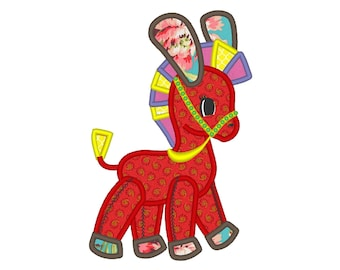 Quilt Raggedy Donkey toy little horse machine embroidery applique designs - multiple sizes for hoop 4x4, 5x7 and 6x10 INSTANT DOWNLOAD