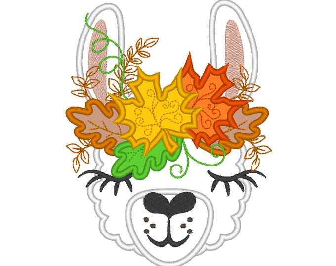 Leaves Autumn crown Thanksgiving leaves wreath Llama alpaca head with leaves applique machine embroidery designs autumn llama face