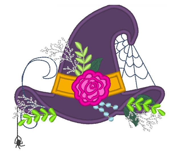 Witchy Halloween hat with shabby chick roses flowers crown applique machine embroidery designs Witch hat applique
