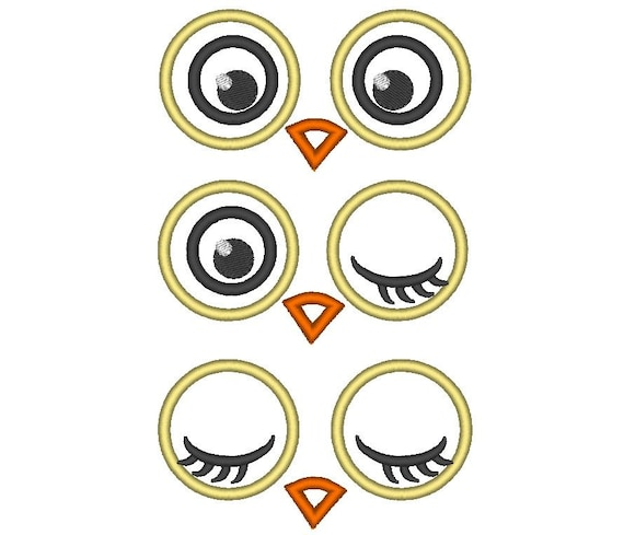 Owl applique Embroidery Design 6 Different Sizes for Instant Download