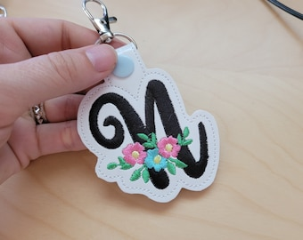 Key fob snap tab Meadow Monogram alphabet initials script letters from A up to Z in the hoop ITH keyfob bag tag machine embroidery designs