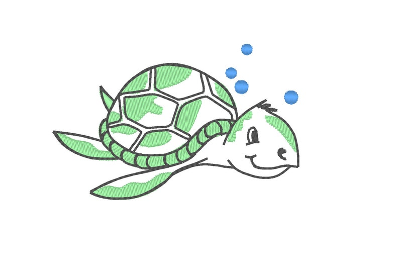 Sea Turtle Little Turtle Sketch Embroidery Designs Etsy