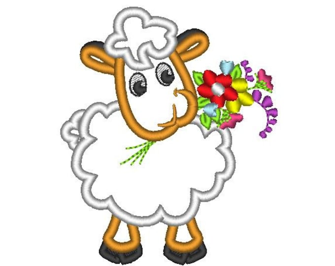 Cute Sheep machine embroidery applique designs multiple sizes hoop 4x4, 5x7 pretty little lamb poddy children kids baby flower bouquet
