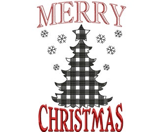 Merry Christmas gingham old fashioned classic banner decoration machine embroidery designs 4x4, 5x7, 8x8, 8x12 Christmas tree saying quote