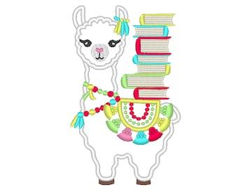 Llama with books, Fringed tassel applique, Lama boho, tassel, llama, reading llama ITH in the hoop machine embroidery design applique