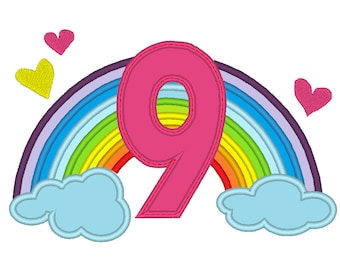 Cute Rainbow Birthday Number 9 NINE only machine embroidery applique designs, sizes 5, 6and 7 inches INSTANT DOWNLOAD