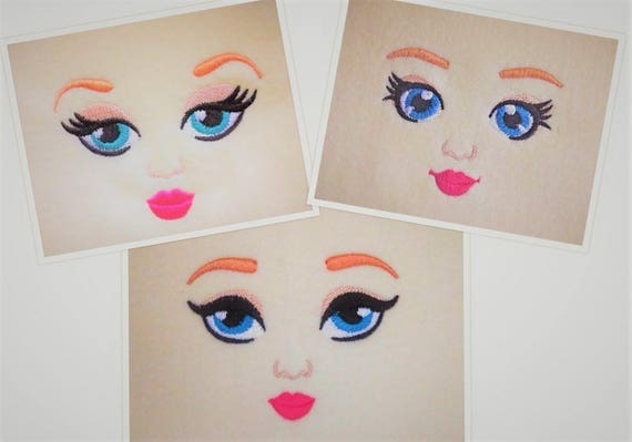 Embroidered Dolls Face Doll Eyes 3 Types Machine Etsy