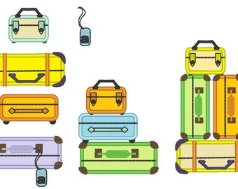Suitcase Stack, Suitcases set, ready for summer holidays - machine embroidery applique designs, multiple sizes