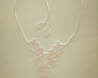 Necklace lace FSL, baby free standing jewelry embroidery design  4x4  water soluble stabilizer EMBROIDERY