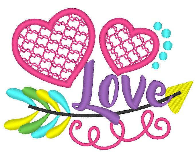 love hearts arrow wild valentine hearts -  machine embroidery  applique designs - 4x4, 5x7 assorted sizes