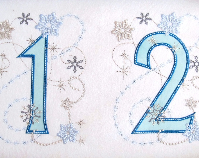 Frozen Birthday Snowflakes Numbers , machine embroidery applique designs 5x7