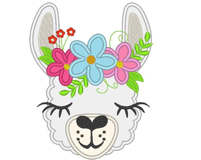 Llama or alpaca head with shabby chick flower crown applique machine embroidery design pretty eyes floral llama face cute drama llama design