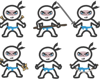 Ninjas - machine embroidery fill stitch and applique designs for hoop 4x4, 5x7 - 4, 5, 5 1/2, 6 in INSTANT DOWNLOAD