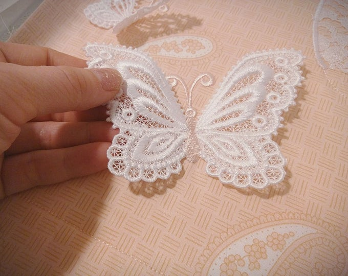Butterfly 3D  three-dimensional, 3 dimensional, FSL, Free standing lace embroidery design in the hoop ITH embroidery 4x4 assorted sizes